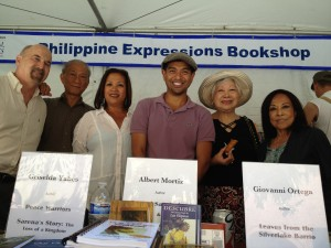 (l to r) Jay Wertz, Albert Mortiz, me, Giovanni Ortega, Linda Nietes - owner of Philippine Expressions Bookshop, and Sumi Haru